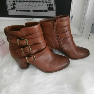 INC Laini Multi Strap Brown Leather Ankle Boots